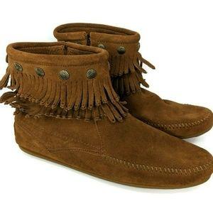 Minnetonka Womens Size 11 Double Fringe Boots